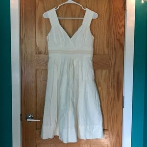 SUNDANCE 100% Linen Sleeveless Fit and Flare Dress